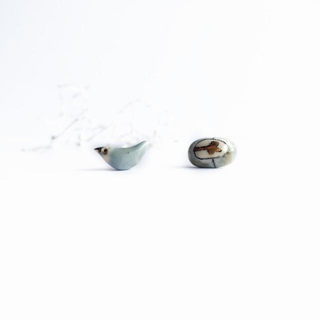 """Keramikos auskarai """"Dangaus paukštukas ir jo gėlėtas kiaušinukas""""9"""